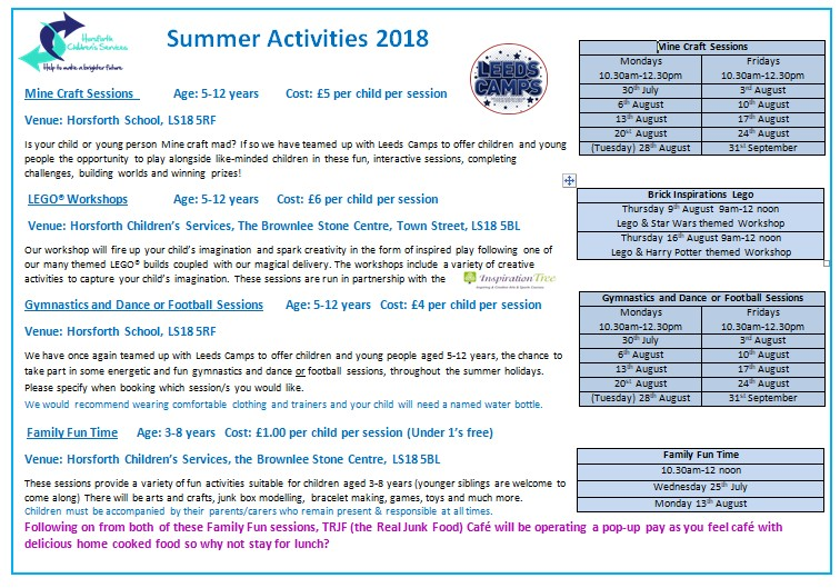 Summer Activities page 1